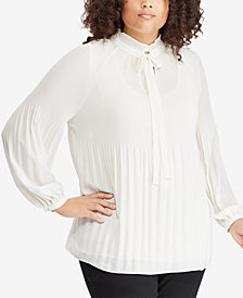 Lauren Ralph Lauren Plus Size Tie-Neck Top