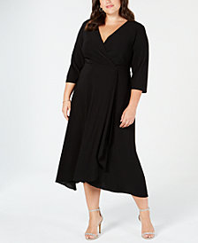 Taylor Plus Size Surplice Midi Dress