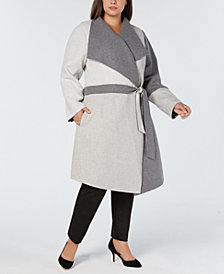 Alfani Plus Size Draped Colorblocked Coat, Created for Macy's