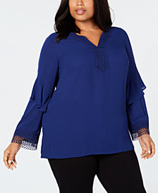 Alfani Plus Size Crochet-Trim Top, Created for Macy's