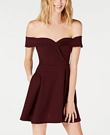Speechless Juniors' Off-The-Shoulder Fit & Flare Dress