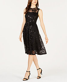 Calvin Klein Sequined Illusion Fit & Flare Dress