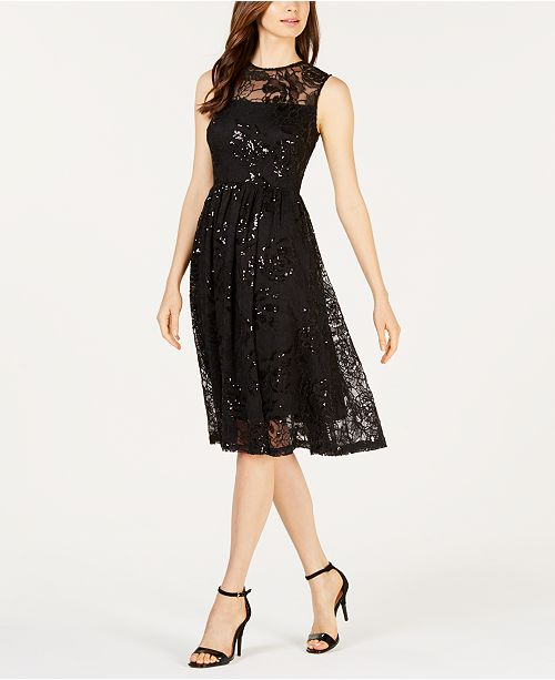 04138d4fe8ed Calvin Klein Sequined Illusion Fit & Flare Dress & Reviews - Dresses ...