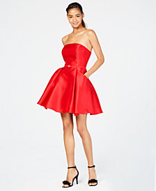 City Studios Juniors' Strapless Fit & Flare Dress