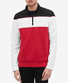 Calvin Klein Men's Regular-Fit Colorblocked Quarter-Zip Sweatshirt