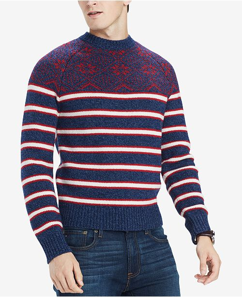 1920s Mens Sweaters, Pullovers, Cardigans Tommy Hilfiger Mens Fair Isle Stripe Sweater Created for Macys $129.00 AT vintagedancer.com