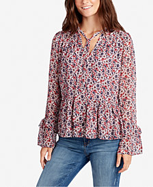WILLIAM RAST Floral-Print Bell-Sleeve Top