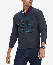 Tommy Hilfiger Men's Payne Plaid Appliqué V-Neck Wool Cricket Sweater, Created for Macy's