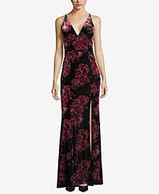 XSCAPE Velvet Floral-Print Gown