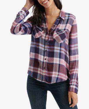 Plaid Button-Front Shirt, Burgundy Multi