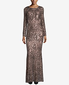Petite Long-Sleeve Sequin Gown
