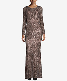 Betsy & Adam Petite Long-Sleeve Sequin Gown
