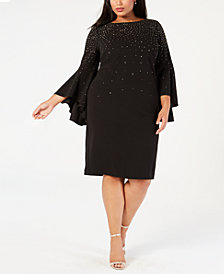 Calvin Klein Plus Size Embellished Sheath Dress, Created for Macy's