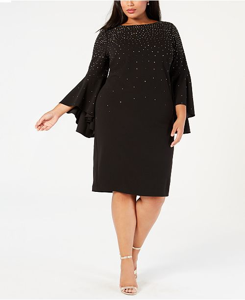 Calvin Klein Plus Size Embellished Sheath Dress, Created for ...