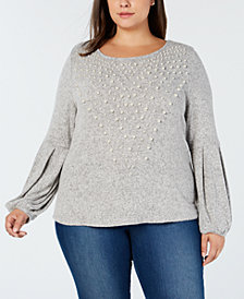 I.N.C. Plus Size Pearl-Embellished Puff-Sleeve Sweater, Created for Macy's