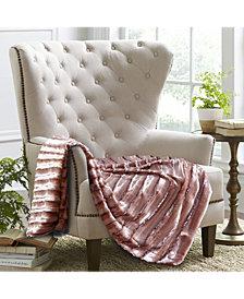 Subtle Striped Faux Fur Throw Blanket