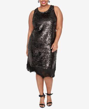 RACHEL RACHEL ROY Plus Size Fringe Sheath Sequin Dress in Black