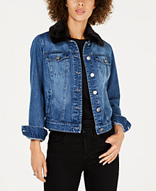 Style & Co Faux-Fur-Trim Denim Trucker Jacket, Created for Macy's