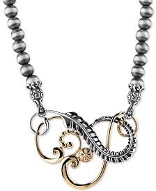 "Swirl 20"" Statement Necklace in Sterling Silver & Brass"