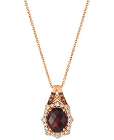 "Rhodolite Garnet (3-1/5 ct. t.w.) & Diamond (3/8 ct. t.w.) 18"" Pendant Necklace in 14k Rose Gold"
