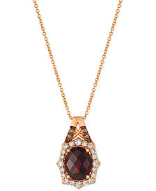 "Le Vian® Rhodolite Garnet (3-1/5 ct. t.w.) & Diamond (3/8 ct. t.w.) 18"" Pendant Necklace in 14k Rose Gold"