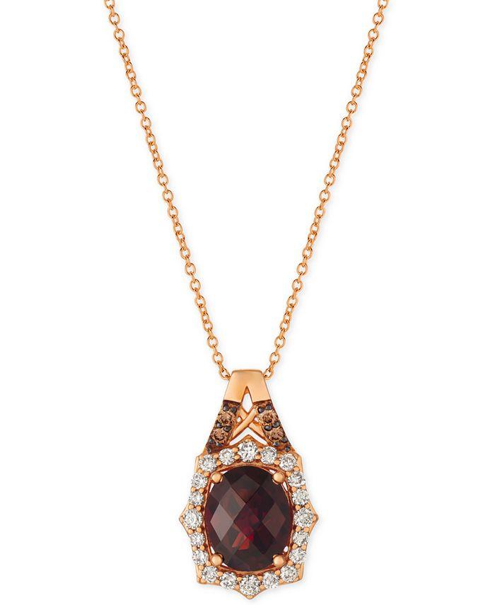 "Le Vian - Rhodolite Garnet (3-1/5 ct. t.w.) & Diamond (3/8 ct. t.w.) 18"" Pendant Necklace in 14k Rose Gold"