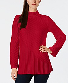 Petite Patterned Mock Turtleneck Sweater, Created for Macy's