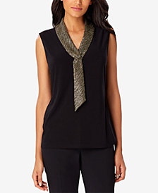 Tahari ASL Lamé-Neck Sleeveless Shell