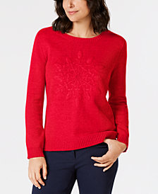 Karen Scott Petite Embroidered Snowflake Sweater, Created for Macy's