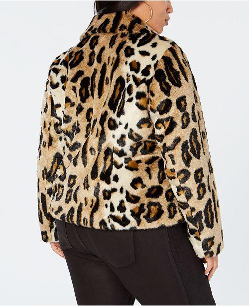 5c5c8f5527e ... INC International Concepts I.N.C. Plus Size Leopard-Print Faux-Fur Moto  Jacket