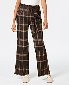 John Paul Richard Petite Plaid Wide-Leg Pants