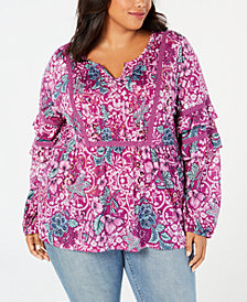 Style & Co Plus Size Floral-Print Tiered-Sleeve Blouse, Created for Macy's