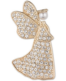Anne Klein Gold-Tone Imitation Pearl & Crystal Angel Pin, Created for Macy's