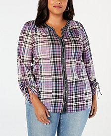 Style & Co Plus Size Patchwork Plaid Split-Neckline Shirt, Created for Macy's