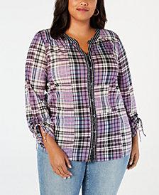 Style & Co Plus Size Patchwork Plaid Split-Neckline Shirt, Created for Macy's