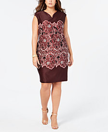 ECI Plus Size Printed Lace Sheath Dress