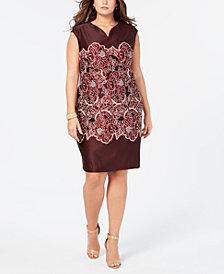 ECI Plus Size Printed Lace Sheath Dress