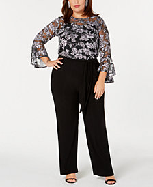 NY Collection Plus & Petite Plus Size Illusion Floral-Print Jumpsuit