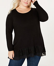 Belle by Belldini Plus Size Lace-Ruffle Top