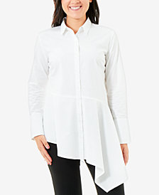 NY Collection Asymmetrical-Hem Blouse