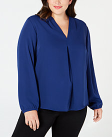 Nine West Plus Size V-Neck Long-Sleeve Top