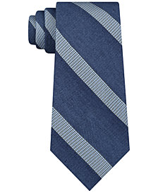 DKNY Men's Stripe Slim Silk Tie