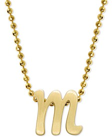 "Scripted Initial 16"" Pendant Necklace in 14k Gold"