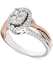 Diamond Two-Tone Halo Cluster Engagement Ring (5/8 ct. t.w.) in 14k White & Rose Gold