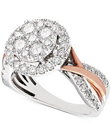 Diamond Two-Tone Halo Cluster Engagement Ring in 14k (1-1/2 ct. t.w.) White & Rose Gold
