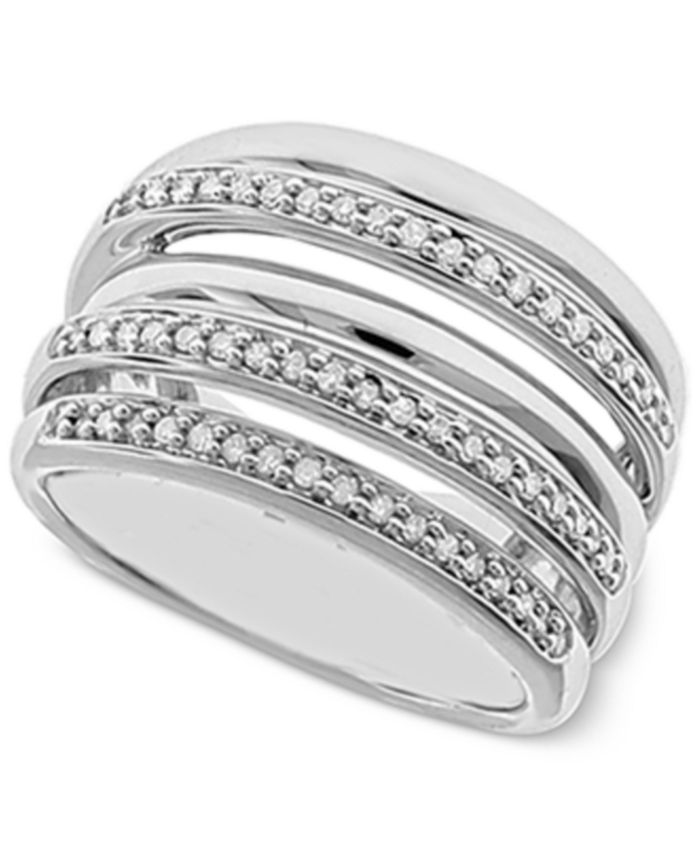 Macy's - Diamond Multi-Layer Statement Ring (1/4 ct. t.w.) in Sterling Silver