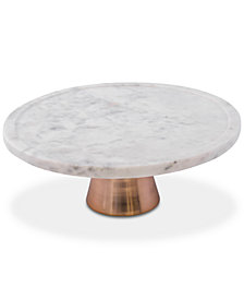Thirstystone White Marble Cake Stand with Copper Base