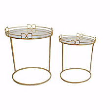 Metal and Glass Nesting Side Tables, Set of 2, Gold