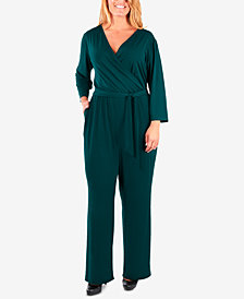 NY Collection Plus Size Surplice Wide-Leg Jumpsuit
