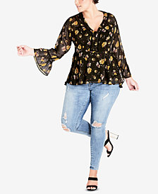 City Chic Trendy Plus Size Sheer Floral-Print Tunic Top